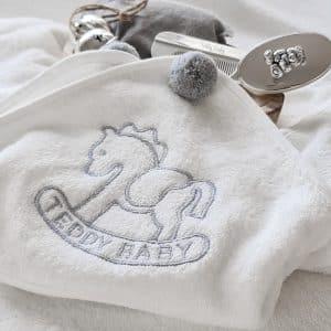 BABY TOWEL POMPOM GRAY
